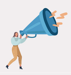 woman talking into big megaphone vector image
