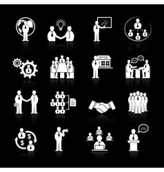 Business team meeting icons set vector image vector image