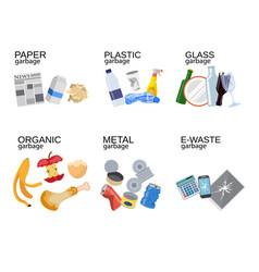 garbage sorting food waste glass metal vector image