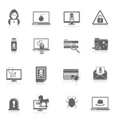 Hacker icons black vector image