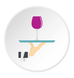 hand holding tray with a glass of red wine icon vector image