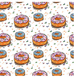 seamless donut pattern vector image