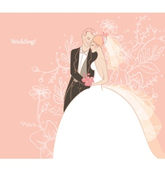 wedding couple back vector image vector image