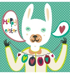 Colorful Easter card with bunny and eggs vector image vector image