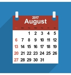 Leaf calendar 2017 with the month of August days vector image