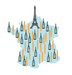 Map of France with Eiffel Tower in Paris National vector image vector image