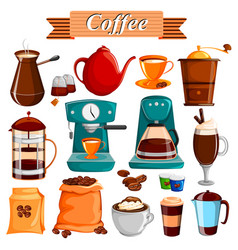 set of different coffee food product vector image vector image