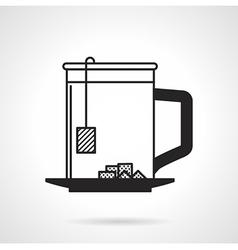 Tea cup with sugar black icon vector image
