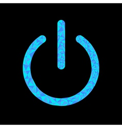 Blue power button icon Black background Polygonal vector image