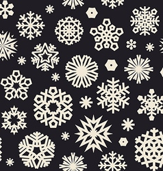 christmas seamless pattern with snowflakes bw vector image vector image