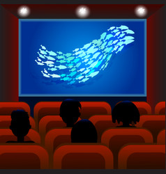 Cinema screen with audience cinema hall people vector