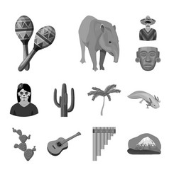 country mexico monochrome icons in set collection vector image vector image