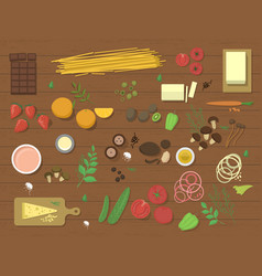 different food ingredient pasta bolognese and vector image