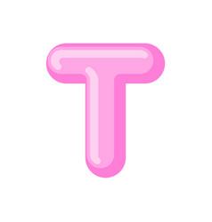 letter t candy font caramel alphabet lollipop vector image vector image