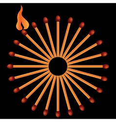 Matches on black background in vector image