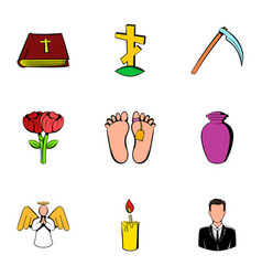memorial icons set cartoon style vector image vector image