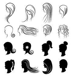 Set of women Hairstyles for beauty concept vector image