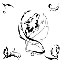 tattoostyle wolf and feather for salons and prints vector image vector image