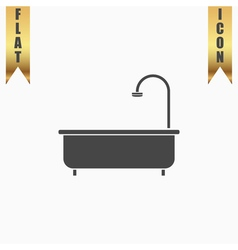 Bathtub flat icon vector image vector image