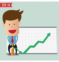 Cartoon Business man pump graph - - EPS10 vector image