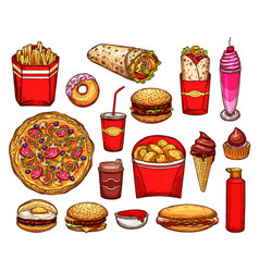 fast food lunch with sandwich drink and dessert vector image vector image