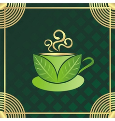Green tea cup vector image