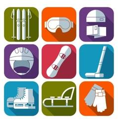 icon set of winter sport Flat design vector image