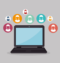 laptop computer with social community device icon vector image