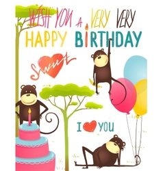 Monkey Fun Happy Birthday Card with Lettering vector image
