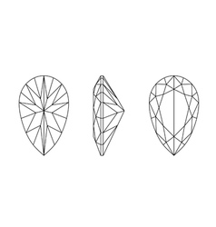 pear shape gemstone wire frame vector image vector image