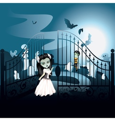 Spooky Halloween Cemetery2 vector image vector image