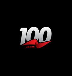 100 years anniversary celebration white black red vector