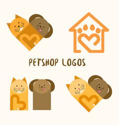 4 petshop logos vector