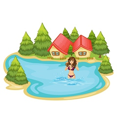 A girl with a purple bikini swimming at the beach vector image