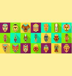 African mask flat set icontribal mask vector