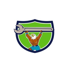 American Bald Eagle Mechanic Spanner Crest Cartoon vector image
