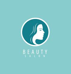 beauty salon logo or symbol portrait beautiful vector image