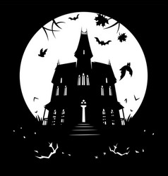 bewitched house silhouette against moon vector image