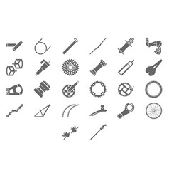 bicycle parts and components icons for eshop menu vector image