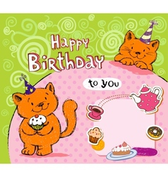 Birthday greeting card with red cats vector