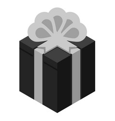 Black grey gift box icon isometric style vector