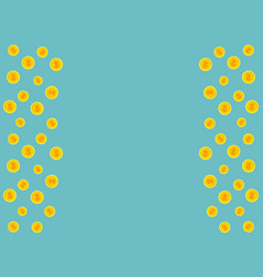 Blue background with golden coins and space for vector