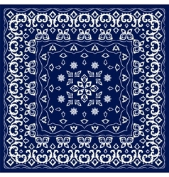 Blue handkerchief with white ornament vector
