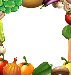 Border design with mixed vegetables vector