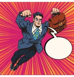 Businessman super hero flying vector