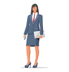 businesswoman in black suit isolated on white vector image