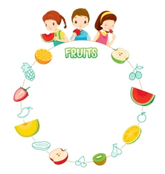 Children And Fruits Objects Icons On Circle Frame vector