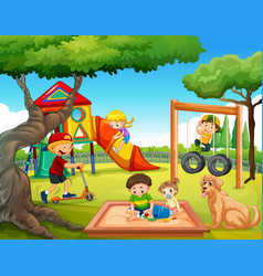 Children playing at playground vector