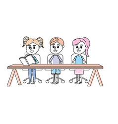 Children student sitting in the wood desk vector
