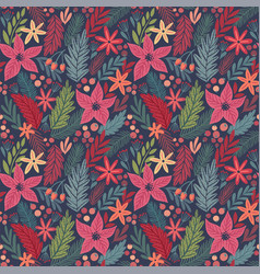 christmas seamless pattern hand drawn floral vector image